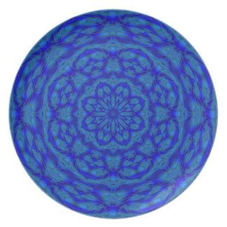 Flor de la estrella en azul plato para fiesta