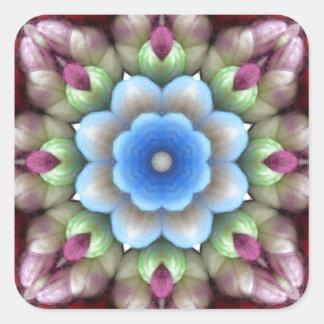 Flor de la fibra de YARNS5.jpgwool Pegatina Cuadrada