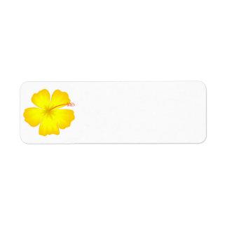 flor de la flor del amarillo del estado del yellow etiqueta de remite