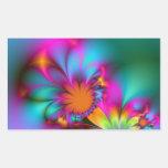 Flor de la guardería pegatina rectangular