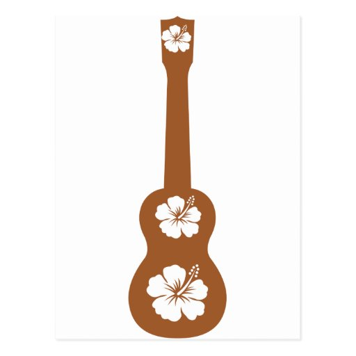 flor de la hawaiana del ukulele y del hibisco tarjeta postal