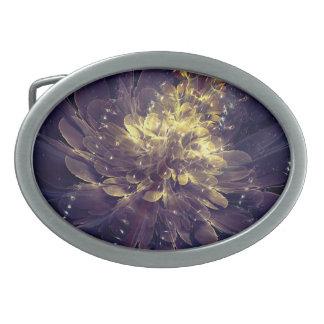 Flor de la hebilla del cinturón azul de oro de la hebillas de cinturón ovales