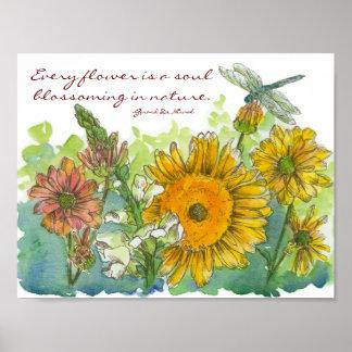 Flor de la inspiración de la libélula de póster