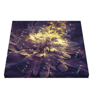 Flor de la libertad - flor azul de oro impresión en lienzo