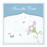 Flor de la lila con las mariposas invitación 13,3 cm x 13,3cm