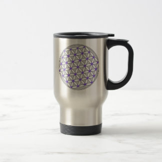 Flor de la lila del gris de la vida taza térmica