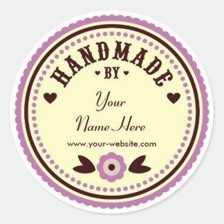 Flor de la lila hecha a mano por los pegatinas etiqueta redonda