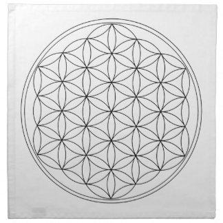 Flor de la línea del negro de la vida servilleta imprimida