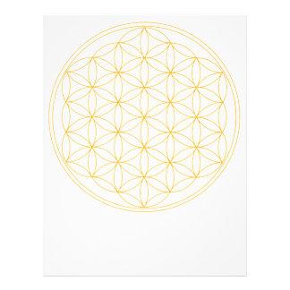 Flor de la línea del oro de la vida membrete a diseño