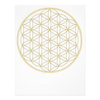 Flor de la línea del oro de la vida plantillas de membrete