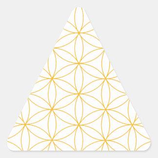 Flor de la línea del oro de la vida pegatina triangular