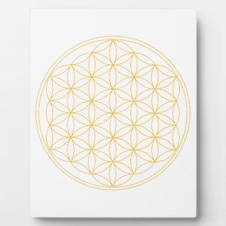 Flor de la línea del oro de la vida placas