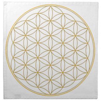 Flor de la línea del oro de la vida servilletas imprimidas