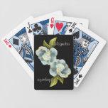 Flor de la magnolia con las hojas personalizadas baraja de cartas