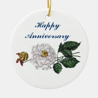 Flor de la magnolia adorno redondo de cerámica