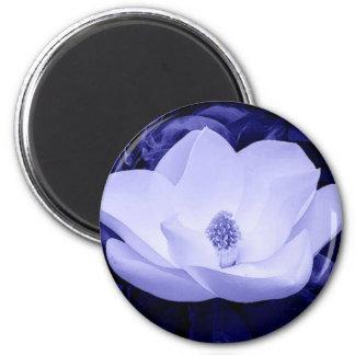 Flor de la magnolia del flor imán redondo 5 cm