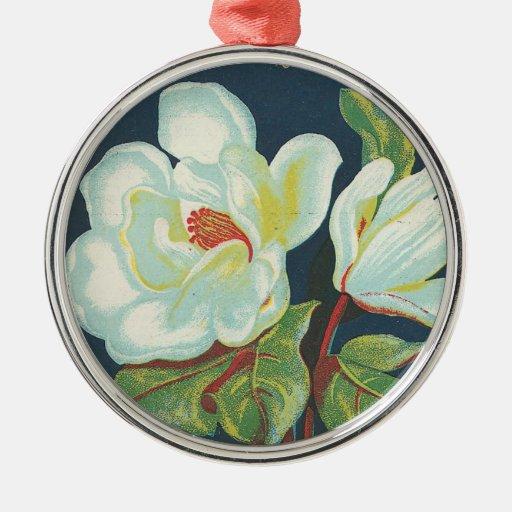 Flor de la magnolia del vintage ornamentos de reyes