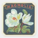 Flor de la magnolia del vintage calcomania cuadradas