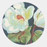 Flor de la magnolia del vintage pegatina redonda