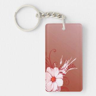 Flor de la magnolia llavero rectangular acrílico a una cara