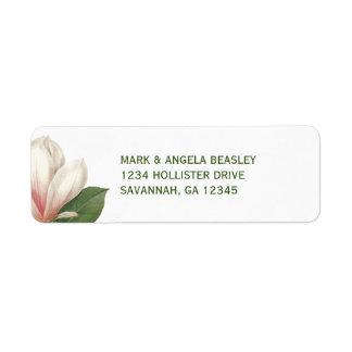 Flor de la magnolia meridional que casa el   etiqueta de remitente