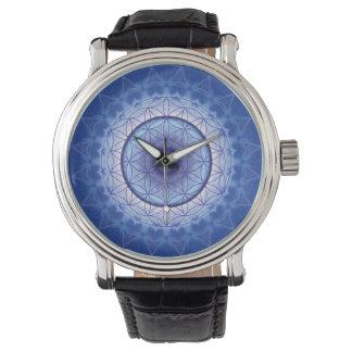 flor de la mandala del azul de la vida reloj