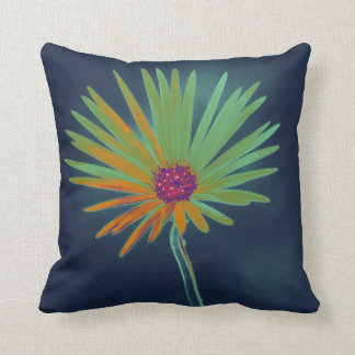 Flor de la margarita azul cojín
