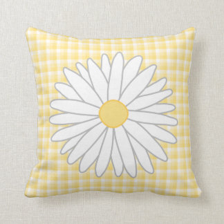 Flor de la margarita en amarillo y blanco cojin