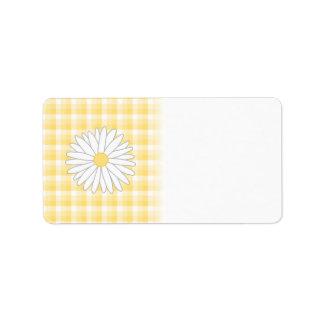 Flor de la margarita en amarillo y blanco etiquetas de dirección