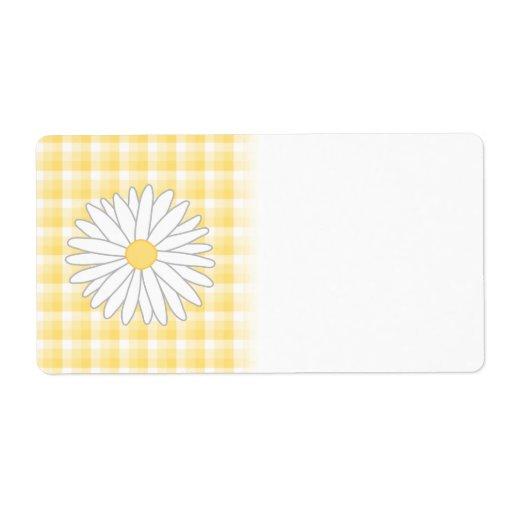 Flor de la margarita en amarillo y blanco etiqueta de envío