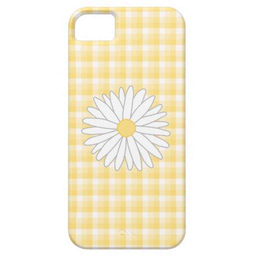 Flor de la margarita en amarillo y blanco iPhone 5 carcasas