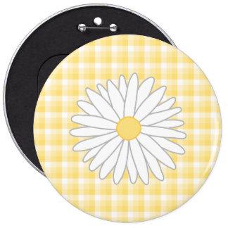 Flor de la margarita en amarillo y blanco pin