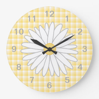 Flor de la margarita en amarillo y blanco reloj de pared