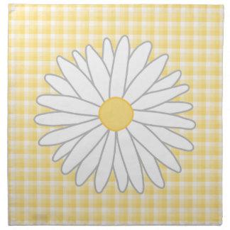 Flor de la margarita en amarillo y blanco servilleta imprimida