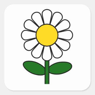 Flor de la margarita pegatina cuadrada