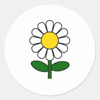 Flor de la margarita pegatina redonda