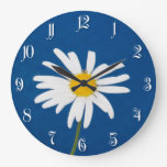 Flor de la margarita reloj redondo grande