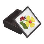 Flor de la mariquita cajas de recuerdo de calidad