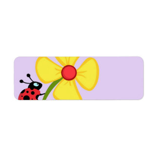 Flor de la mariquita etiquetas de remite