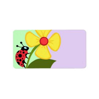Flor de la mariquita etiquetas de dirección