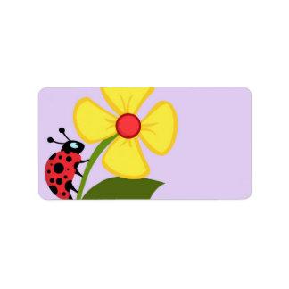 Flor de la mariquita etiqueta de dirección