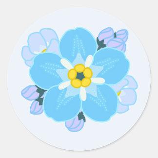 Flor de la nomeolvides pegatinas redondas