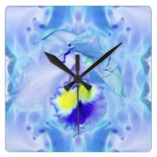 Flor de la orquídea azul reloj