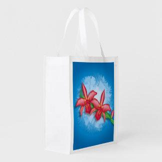 Flor de la orquídea bolsas reutilizables