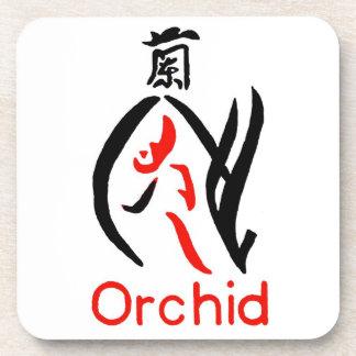 Flor de la orquídea de Mahjong, rojo y negro en bl Posavasos
