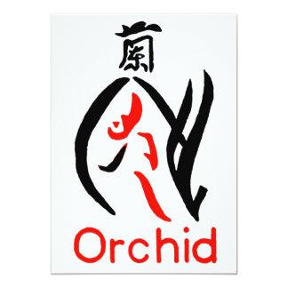 """Flor de la orquídea de Mahjong, rojo y negro en Invitación 5"""" X 7"""""""