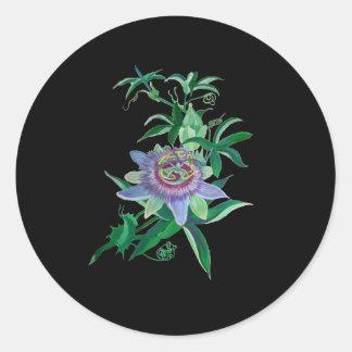 Flor de la pasión pegatina redonda