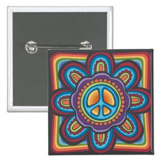 Flor de la paz del Hippie Pin Cuadrada 5 Cm