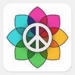 Flor de la paz colcomanias cuadradas personalizadas