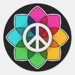 Flor de la paz pegatina redonda